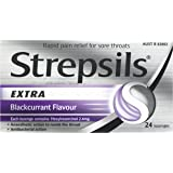 Strepsils Extra Blackcurrant Fast Numbing Sore Throat Pain Relief with Anaesthetic Lozenges (24 Pack)