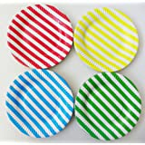 ReaLegend 60 Count 7-Inch Colored Stripe Round Theme Party Cake Dessert Papper Plates - Multicolor Stripe