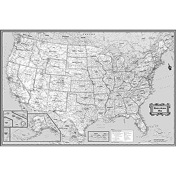 Amazon.com : CoolOwlMaps United States Wall Map Black & White Design ...