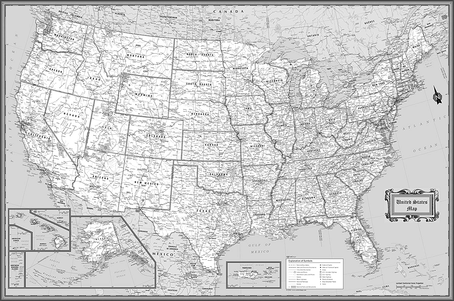 Amazoncom CoolOwlMaps United States Wall Map Black White - Black and white map of us