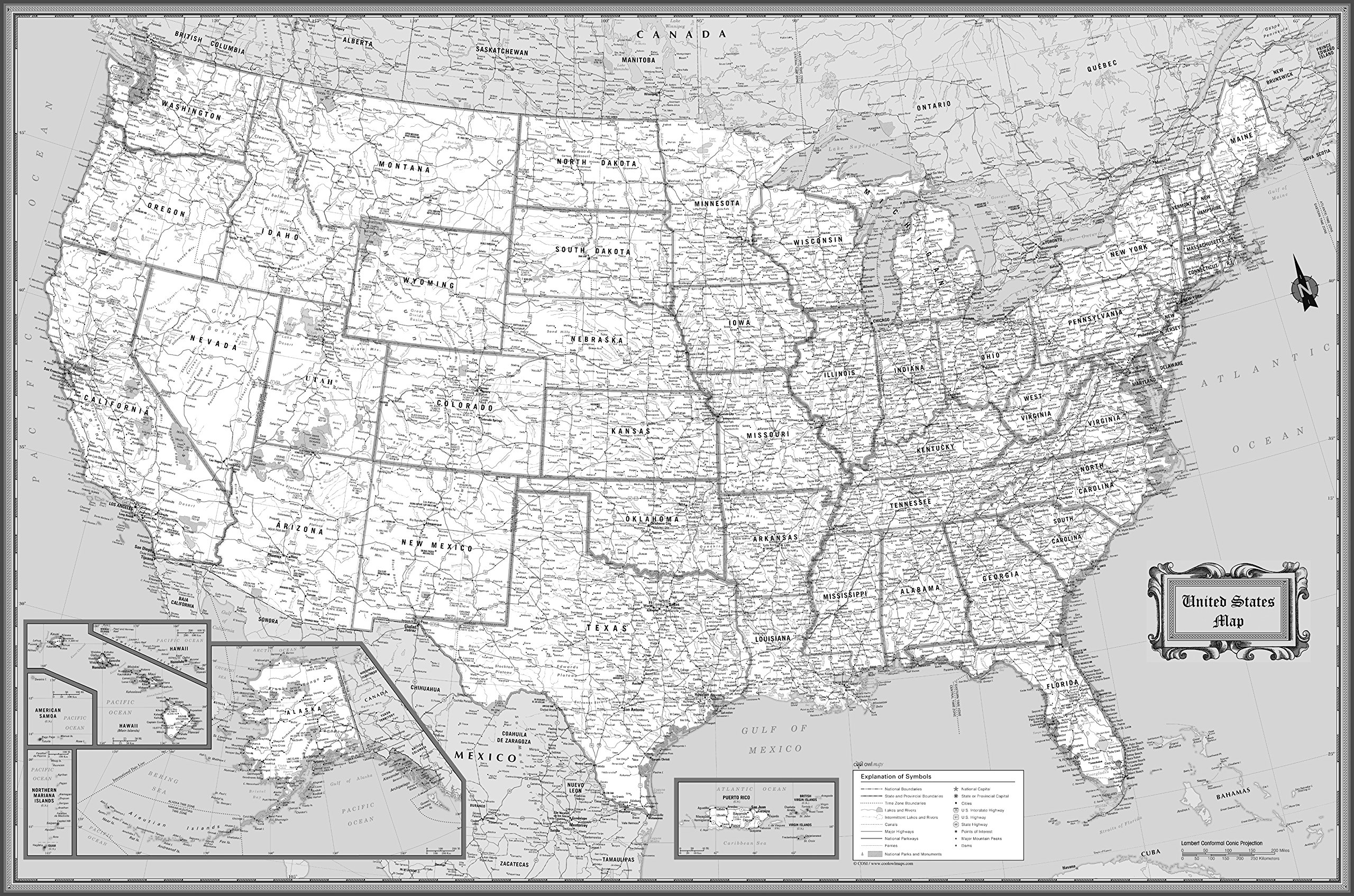 CoolOwlMaps United States Wall Map Black & White Design - Poster Size 36x24 Rolled Laminated