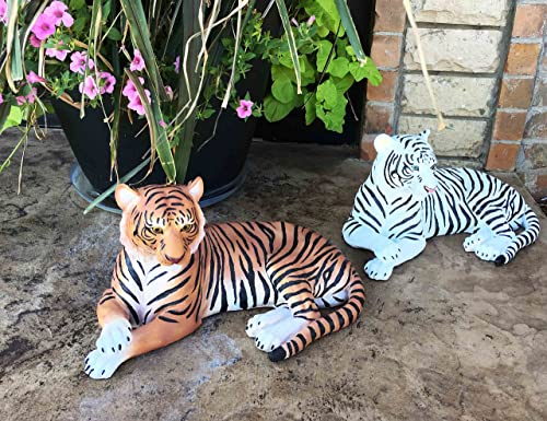Large Pair of Raja The Royal Bengal Tiger and Ghost The Siberian White Tiger 15.5″ Long Statues Jungle Apex Predator Home Garden Outdoor Patio Decor Figurine