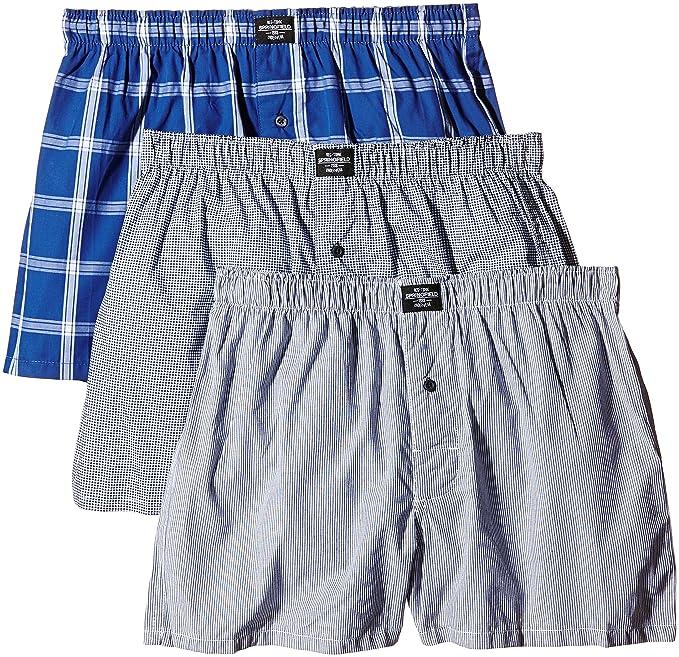 Springfield Pack 3 Tela Azules, Bóxers para Hombre, Blues, S