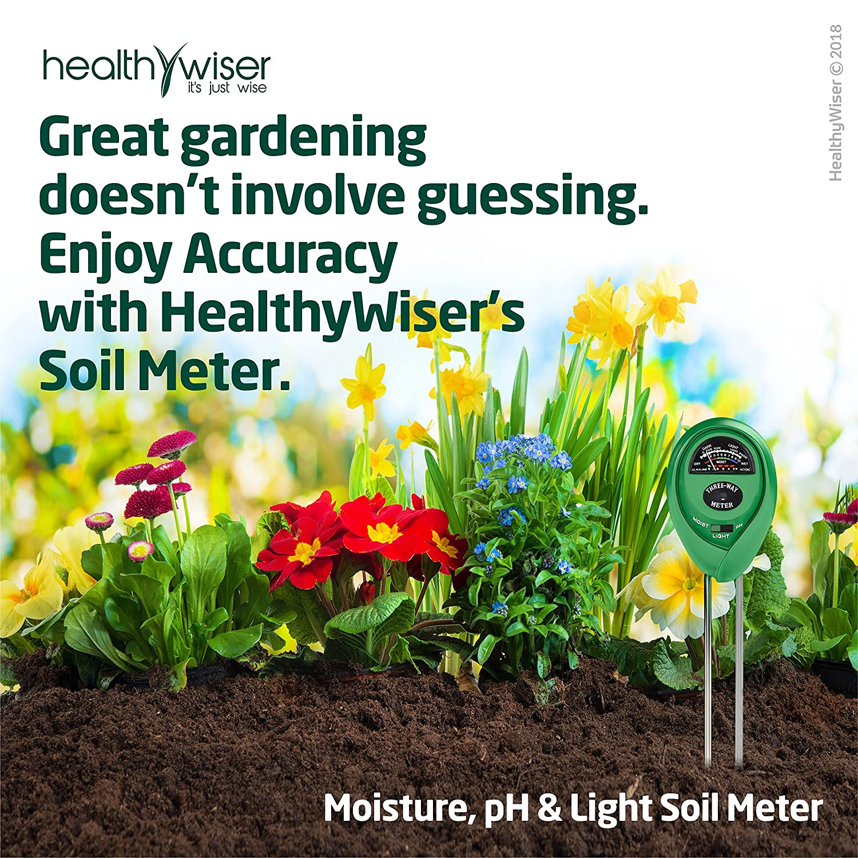 Medidor de pH del Suelo; Kit de Test de Suelo 3-en-1 para Humedad, Luz y pH; Imprescindible para sus herramientas de jardinería; Medidor de Suelo para ...