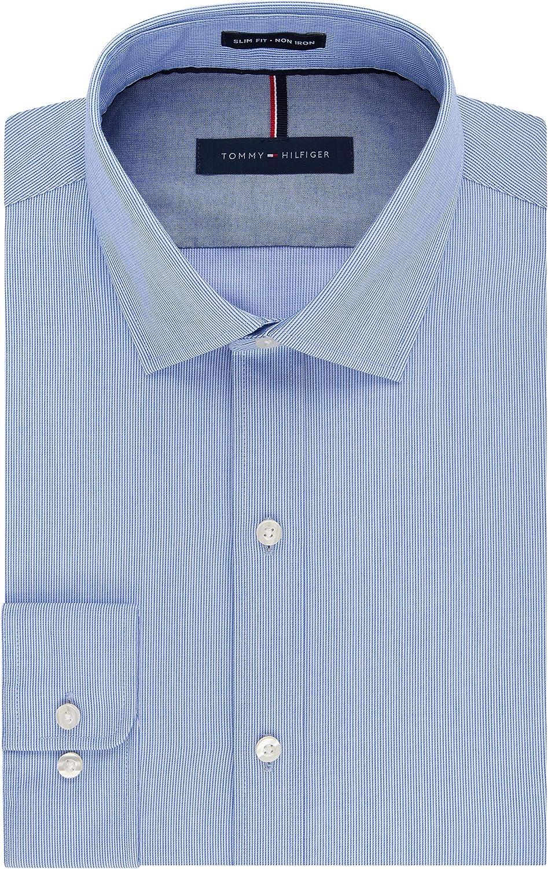 Tommy Hilfiger Hombre 24N0372 Cuello Tipo Italiano Manga Larga Camisa de Vestir: Amazon.es: Ropa y accesorios