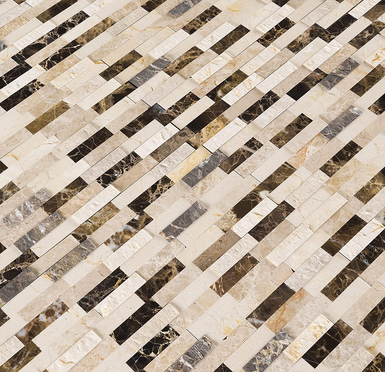 MS International AMZ-M-00314 EMPERADOR Blend SPLITFACE Peel and Stick Tile Brown 12 in x 12 in 15 Square Feet