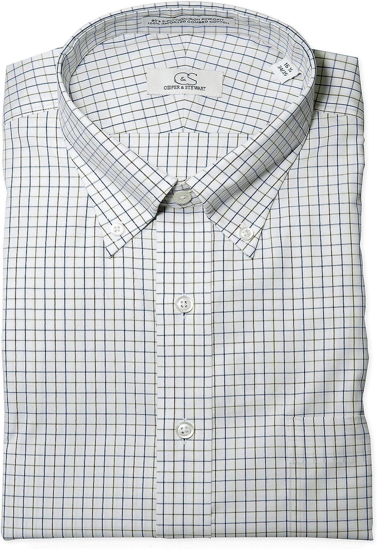 Multi COOPER /& STEWART Big /& Tall Non-Iron Windowpane Button-Down Collar Dress Shirt