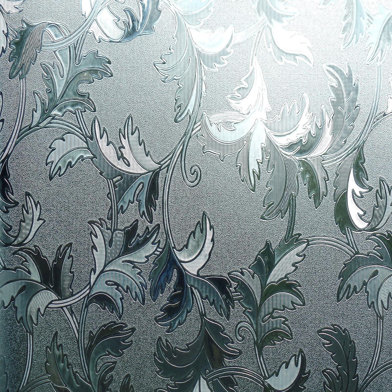 REUSABLE, 3D, Static Decorative Window Vinyl Film, Stained Glass Effect (1m x 90cm) Translucent 3D Maple Leaf Design