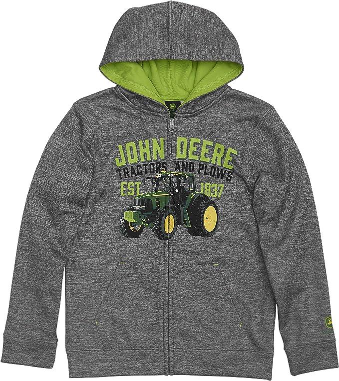 Felpa con cappuccio in pile con zip frontale John Deere Tractor