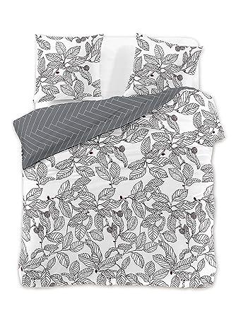 Decoking Premium 30042 Bettwäsche 200x200 2 Kissenbezüge 63x63 Weiß Blumenmuster Bettbezüge Renforcé Baumwolle Mako Satin Baumwollsatin