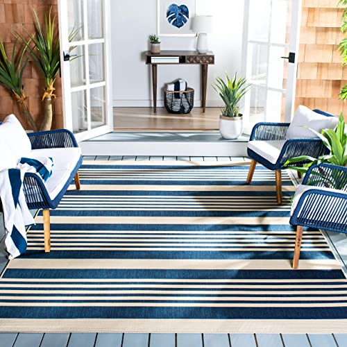 Safavieh Courtyard Collection CY6062-268 Navy and Beige Indoor Outdoor Area Rug 5 3 x 7 7