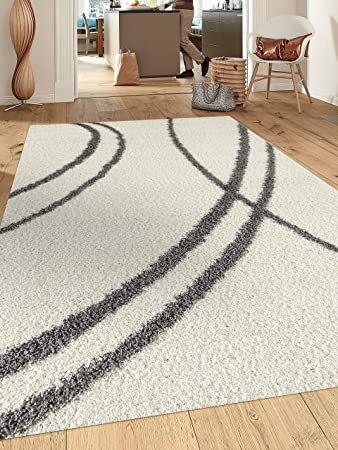 Amazon Com Cozy Contemporary Stripe White Grey 7 10 X 10 Indoor Shag Area Rug Furniture Decor