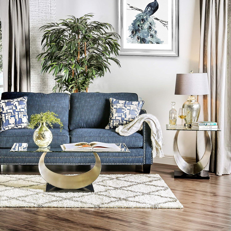 Amazon.com: Furniture Of America Serenia Contemporary 2 Piece Satin Metal  Glass Top Accent Table Set: Kitchen U0026 Dining