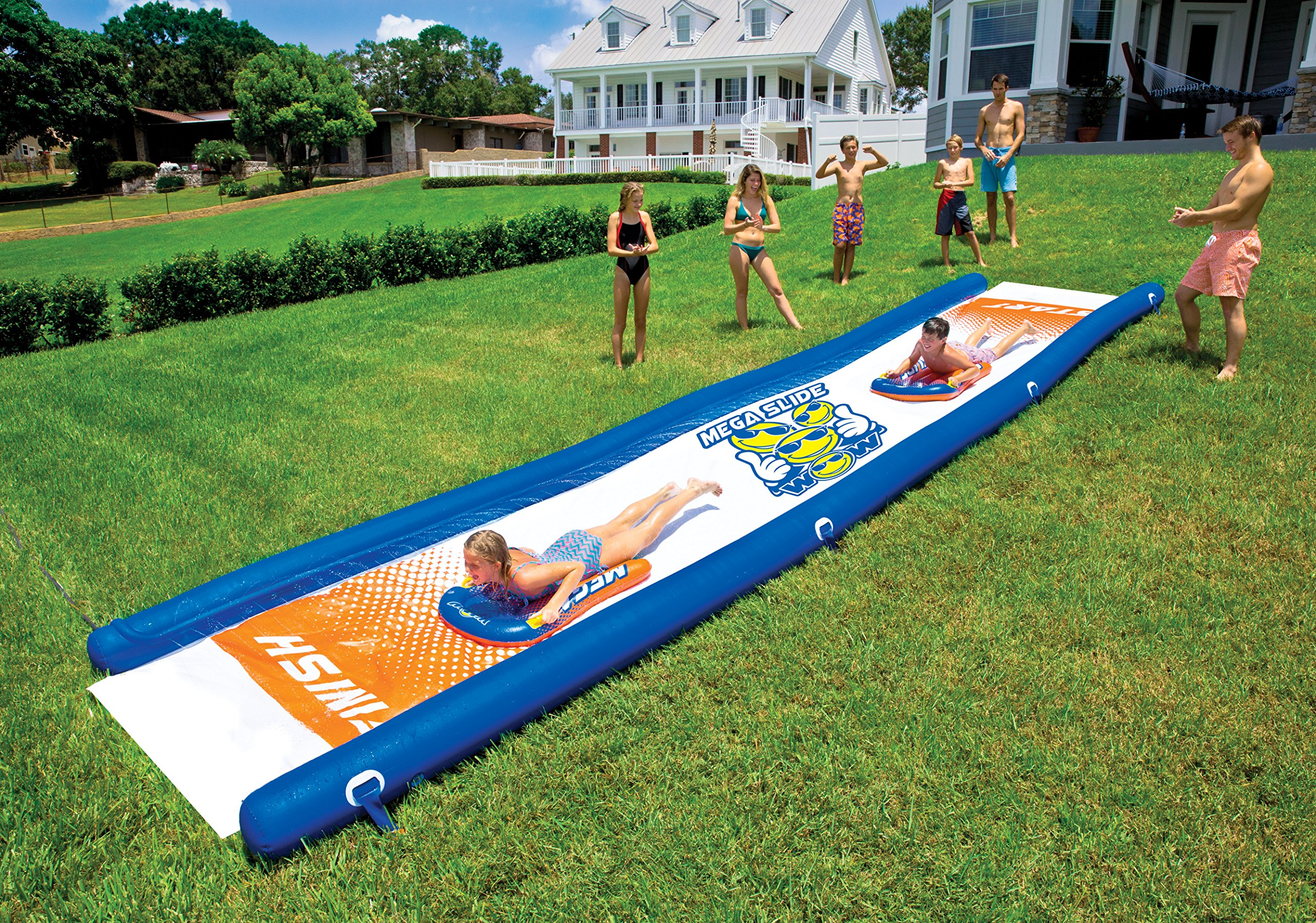 WOW World of Watersports 18-2200 Mega Slide, Giant Backyard Waterslide, High Side Walls, Built in Sprinkler, 25 Feet x 6 Feet, Includes Hand Pump and 2 Inflatable Sleds by WOW Sports