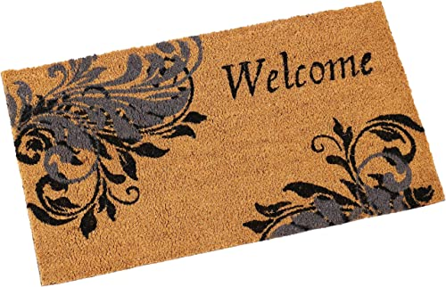 Sunnydaze 17-Inch L x 29-Inch W PVC and Coir Indoor Outdoor Doormat – Heavy Duty Decorative Entryway Mat – Ideal for Foyer, Front Porch, Back Door, Patio and Mudroom – Blue Leaf Scroll