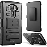 LG G FLEX 2 Holster Defender Case, E LV LG G FLEX 2 Case - Shock-Absorption / High Impact Resistant Black Dual Layer Armor Holster Defender Full Body Protective Case Cover with Kickstand and Belt Swivel Clip for LG G FLEX 2 - BLACK