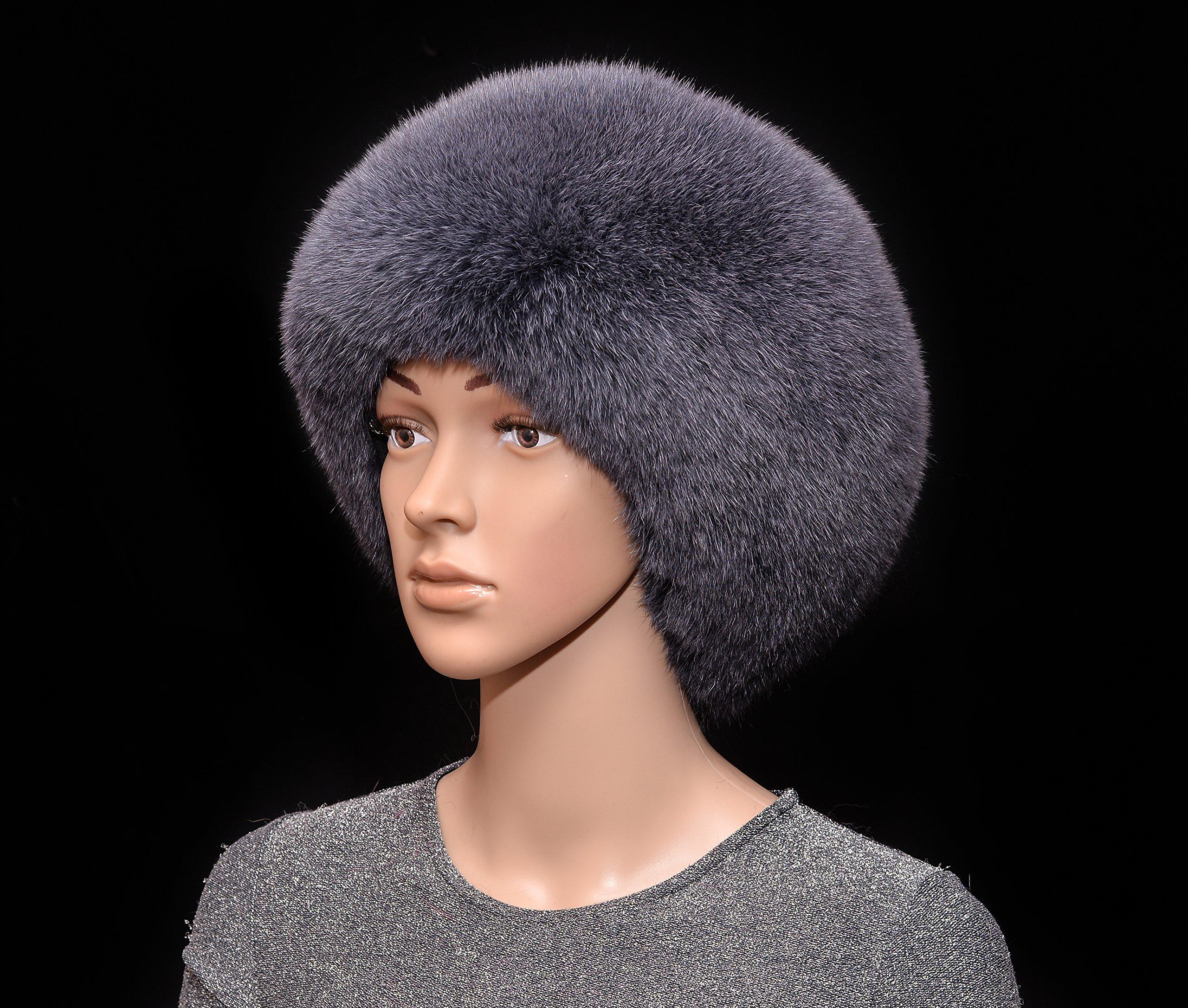 Graphite Grey Blue Fox Fur Handmade Beanie Beret Hat