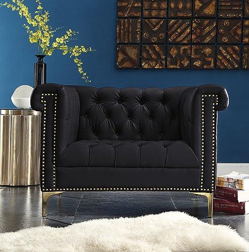 Iconic Home Winston Modern Tufted Gold Nail Head Trim Black PU Leather Club Chair