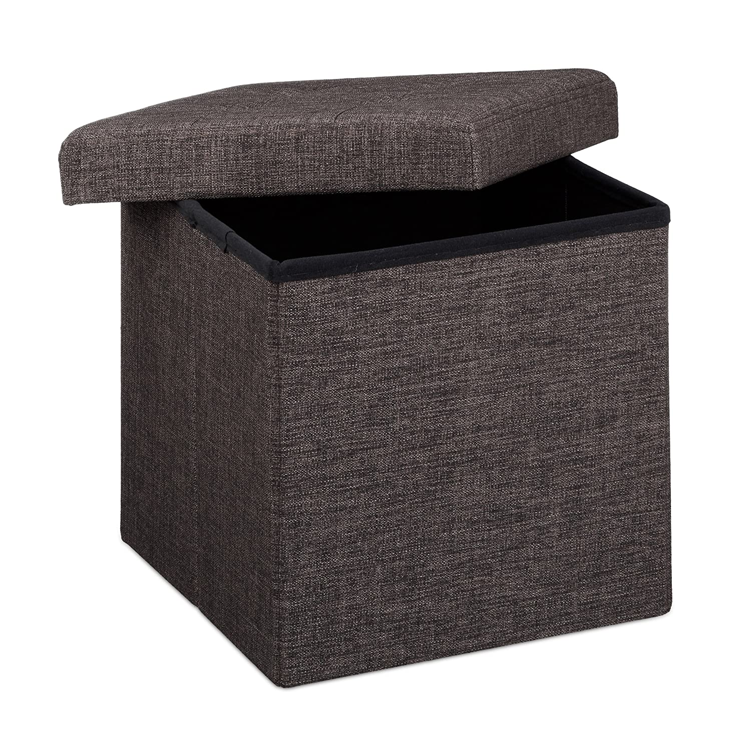 relaxdays ottoman foldable footstool box storage cube with removable lid ebay. Black Bedroom Furniture Sets. Home Design Ideas