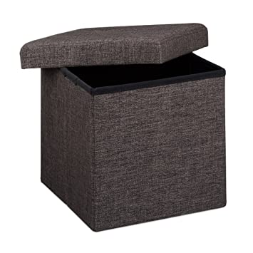 Relaxdays Ottoman Foldable Footstool Box Storage Cube With Removable Lid,  Fabric, Brown, 38
