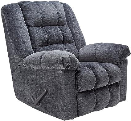 Ashley Furniture Signature Design - Ludden Recliner - Manual Rocker - Blue