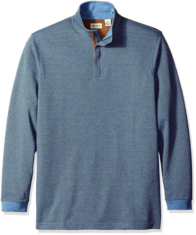 Haggar Mens Big-Tall Houndstooth Knit Quarter Zip Sweater
