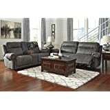 Austere Contemporary Gray Color Microfiber Reclining Sofa And Loveseat w/Console
