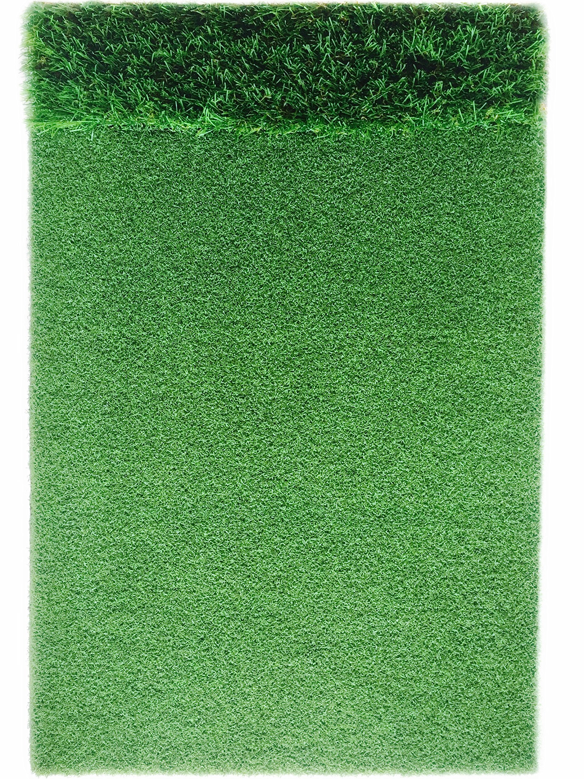StrikeDown Dual-Turf Pro Golf Hitting Mat | Fairway and Rough Simulation Training Aid with Built-in Shockpad for Indoor and Outdoor Practice (36-Inch x 24-Inch) by Motivo Golf (Image #2)