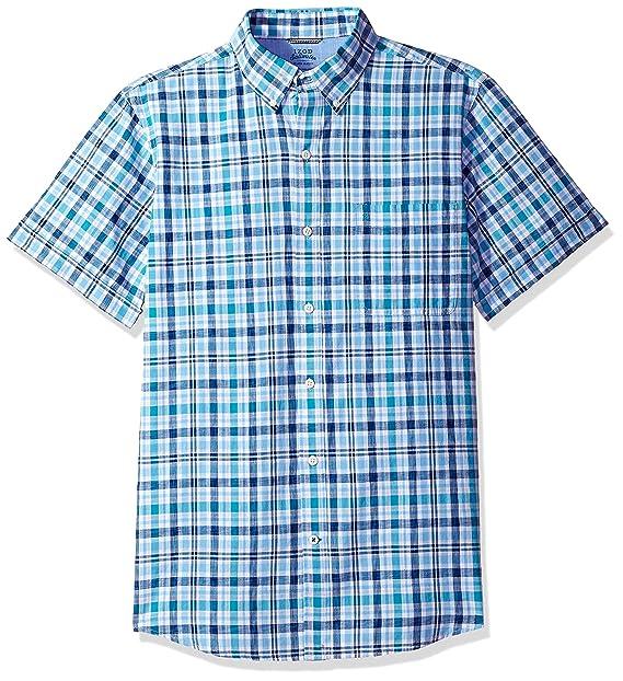 9f5745ae528 IZOD Men's Dockside Chambray Plaid Short Sleeve Shirt (Regular and Slim Fit)