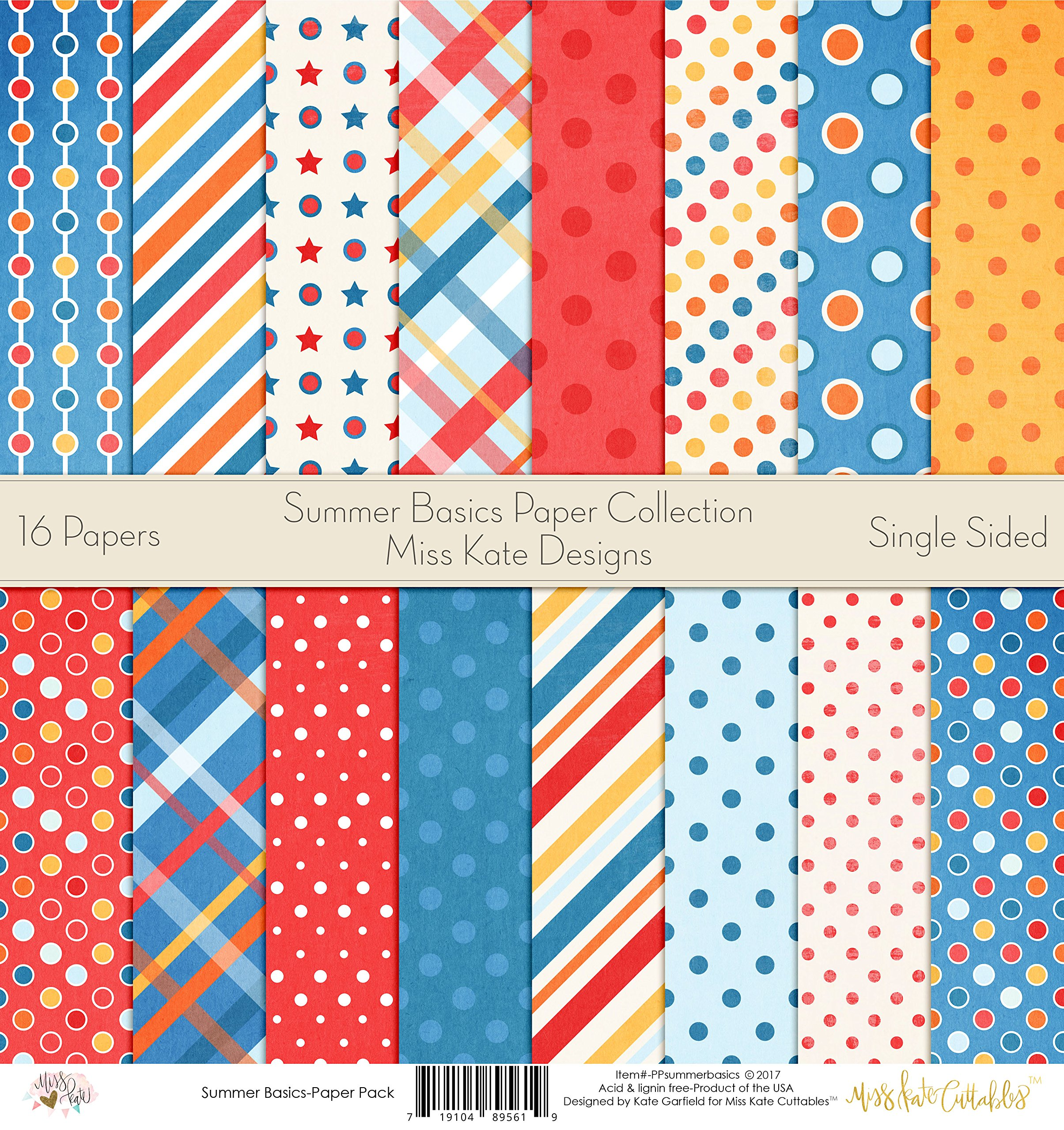 Pattern Paper Pack - Summer Basics - Scrapbook Premium Specialty Paper Single-Sided 12''x12'' Collection Includes 16 Sheets - by Miss Kate Cuttables