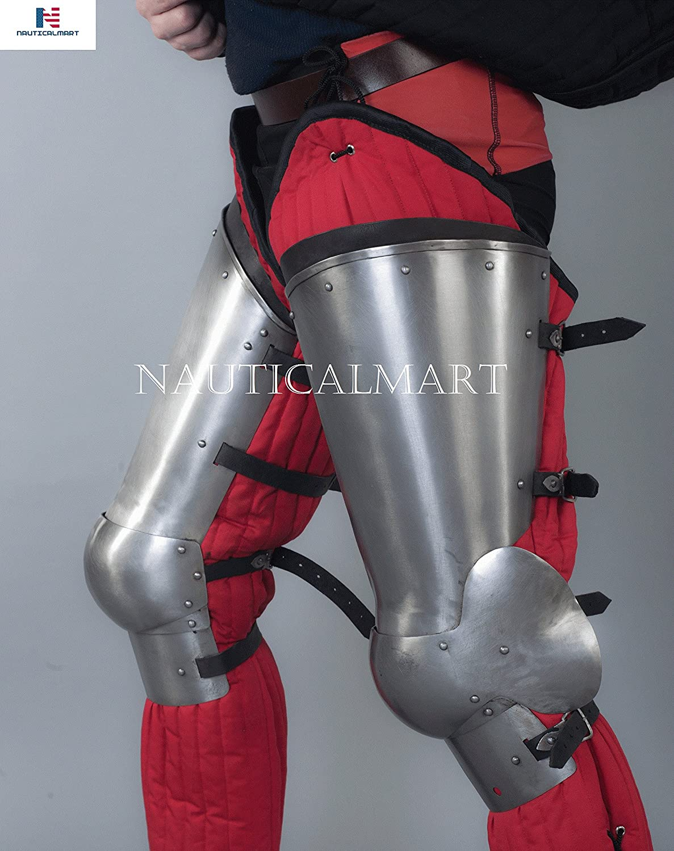 NAUTICALMART SCA Combat Leg Armor, Plate Legs, cuisses with poleyns Legharness Charles VI