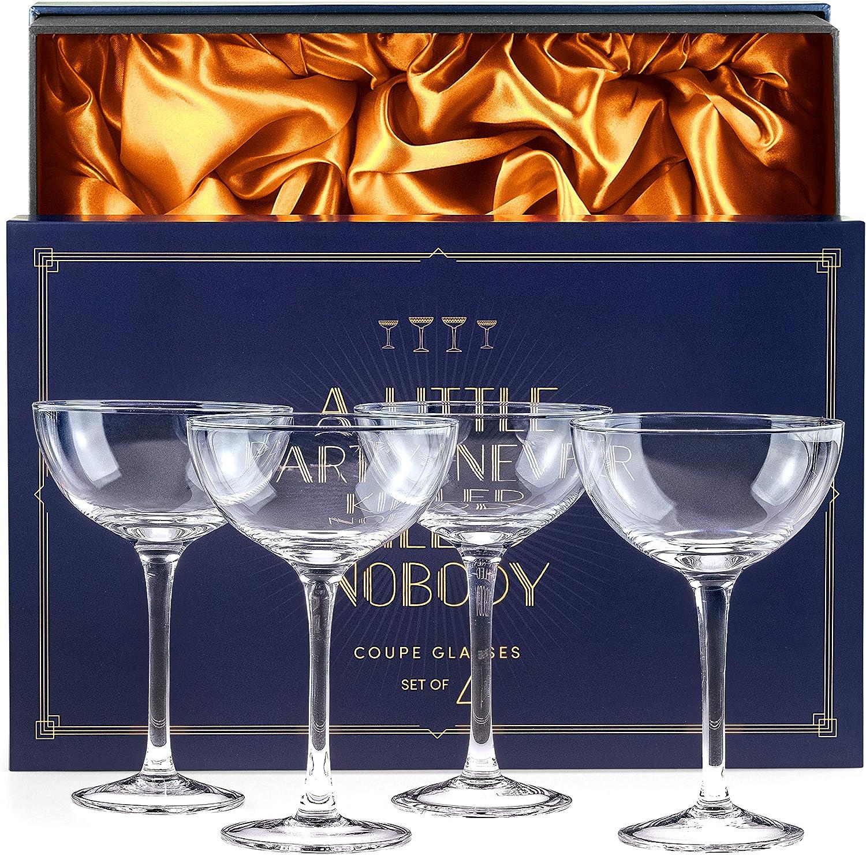 Vintage Barware Crystal Set of 4 Margarita Glasses
