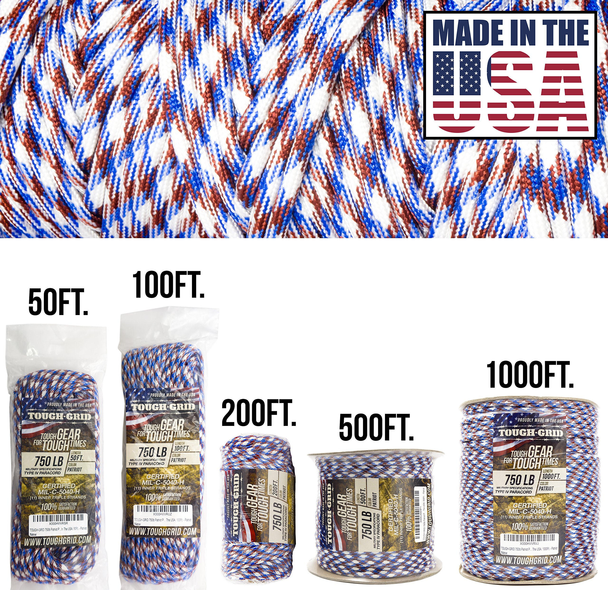 TOUGH-GRID 750lb Patriot Paracord/Parachute Cord - Genuine Mil Spec Type IV 750lb Paracord Used by The US Military (MIl-C-5040-H) - 100% Nylon - Made in The USA. 50Ft. - Patriot by TOUGH-GRID