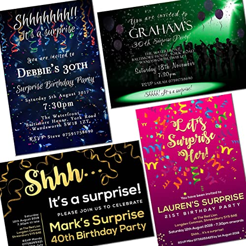 Surprise Party Invitations Various Designs For Any Age Personalised Birthday Invites Envelopes