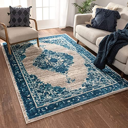 Well Woven Talya Abstract Vintage Distressed Medallion Blue Beige 8×10 7'10″ x 9'10″ Area Rug