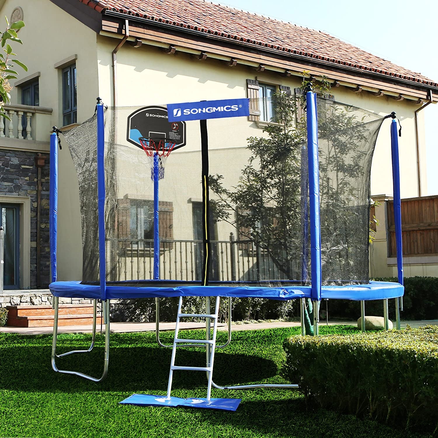 SONGMICS Outdoor Trampoline 14-Feet for Kids with Basketball Hoop and Backboard Enclosure Net Jumping Mat and Safety Spring Cover Padding T V Rheinland Certificated According to ASTM and GS USTR14BU