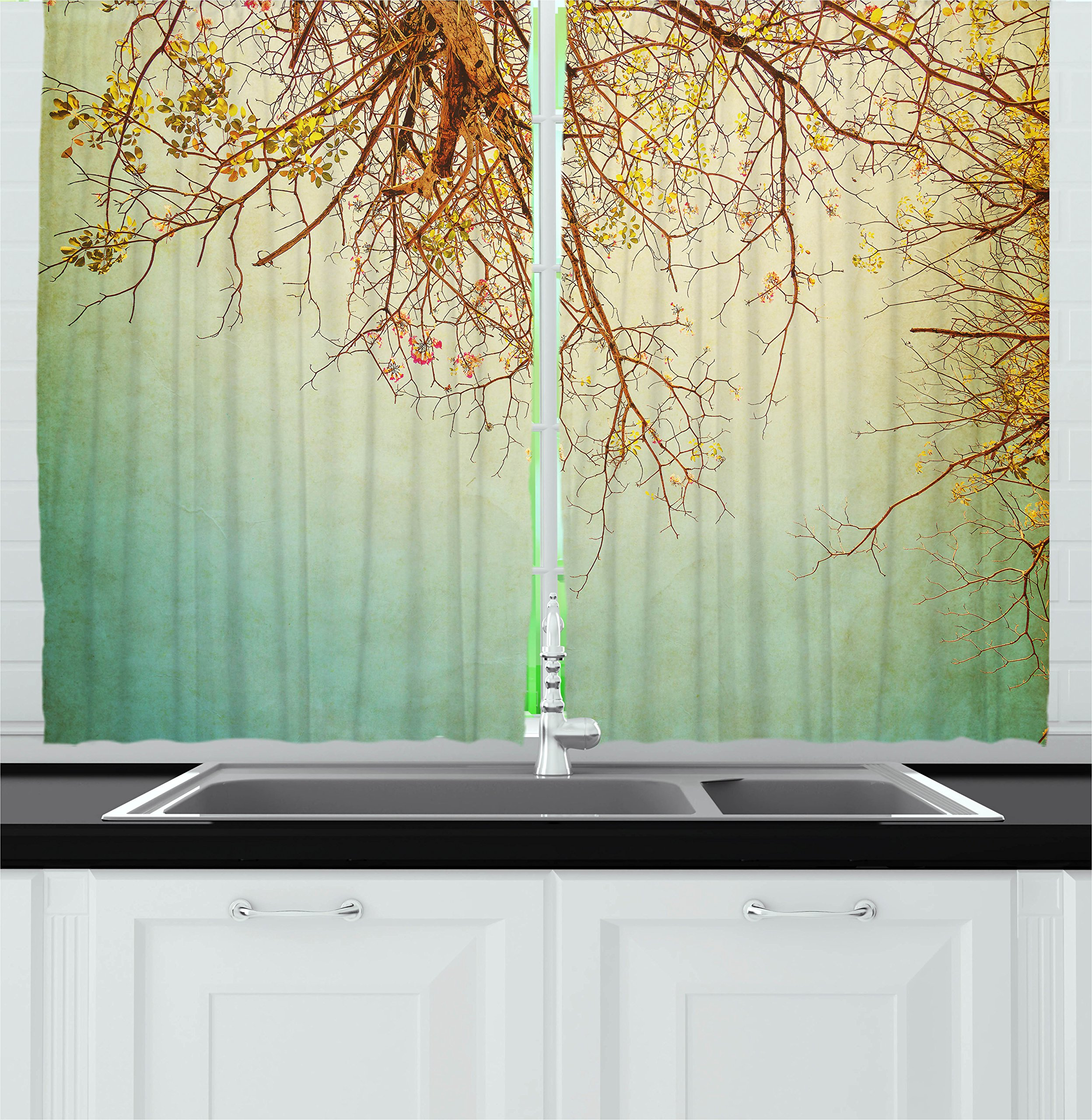 Ambesonne Nature Kitchen Curtains, Vintage Tree Flower Branches with Spring Blooms Fresh Leaves Print, Window Drapes 2 Panels Set for Kitchen Cafe, 55W X 39L inches, Ginger Mint and Light Green by Ambesonne