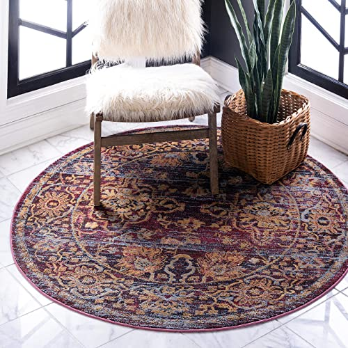 Unique Loom Augustus Collection Boho Traditional Vintage Rust Red Round Rug 8 0 x 8 0