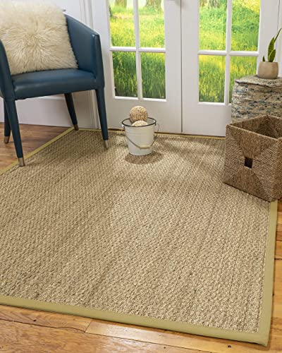 NaturalAreaRugs Mayfair Area Rug Natural Seagrass Hand-Crafted Khaki Wide Canvas Border, 5 x 8