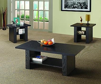 Amazon.com: Coaster 3 Piece Occasional Table Set in Black Finish ...