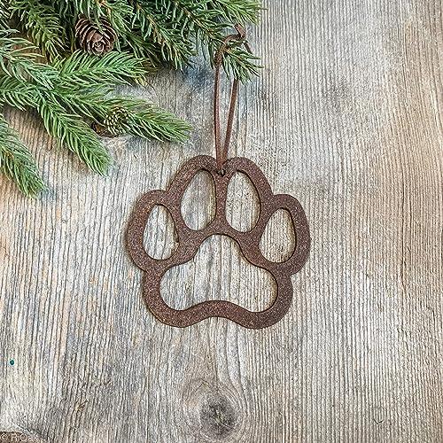 Amazon Com Dog Paw Print Family Pet Metal Christmas Ornament Rustic Farmhouse Handmade
