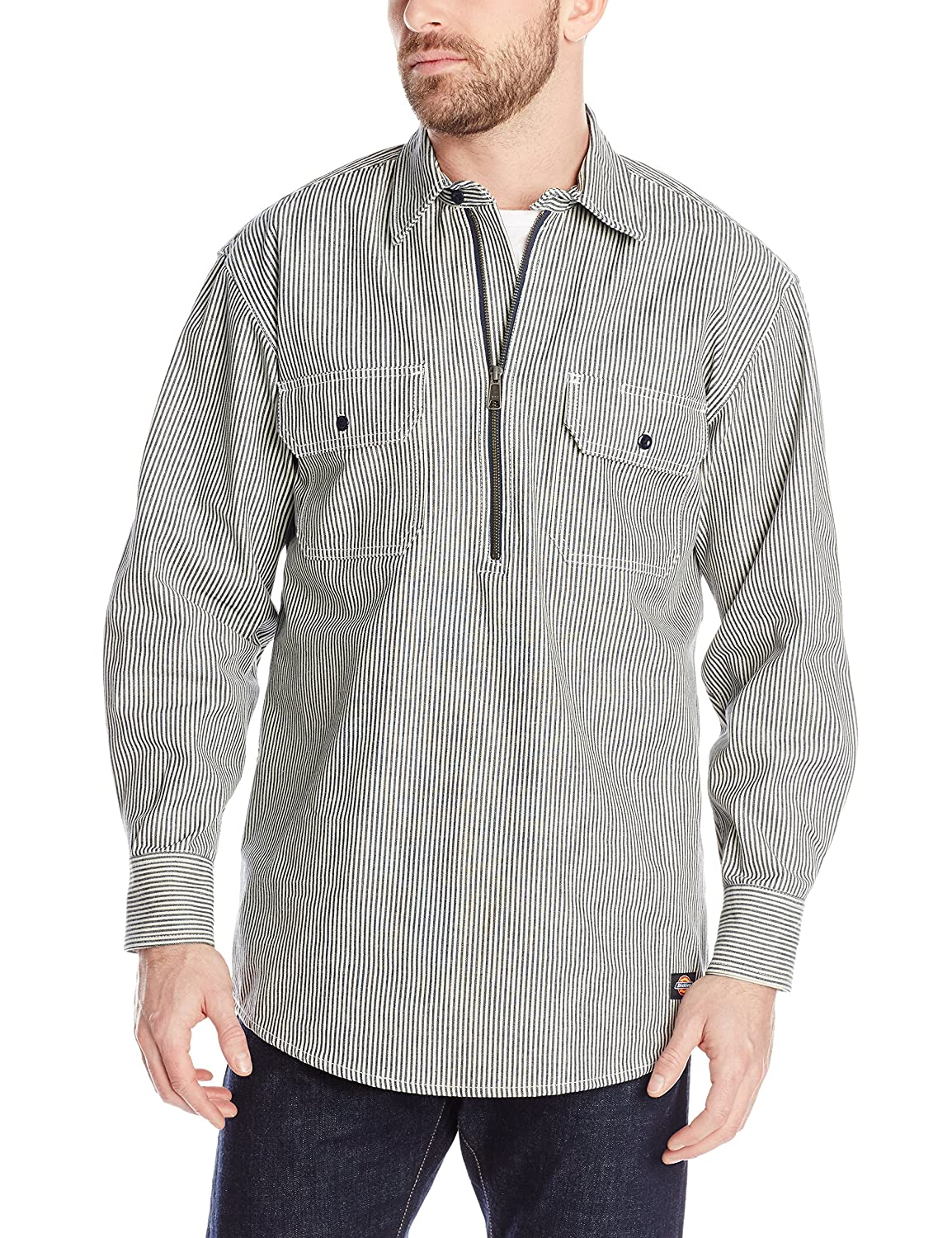 Men's Vintage Workwear – 1920s, 1930s, 1940s, 1950s Dickies Mens Long Sleeve Half Zip Logger Shirt  AT vintagedancer.com