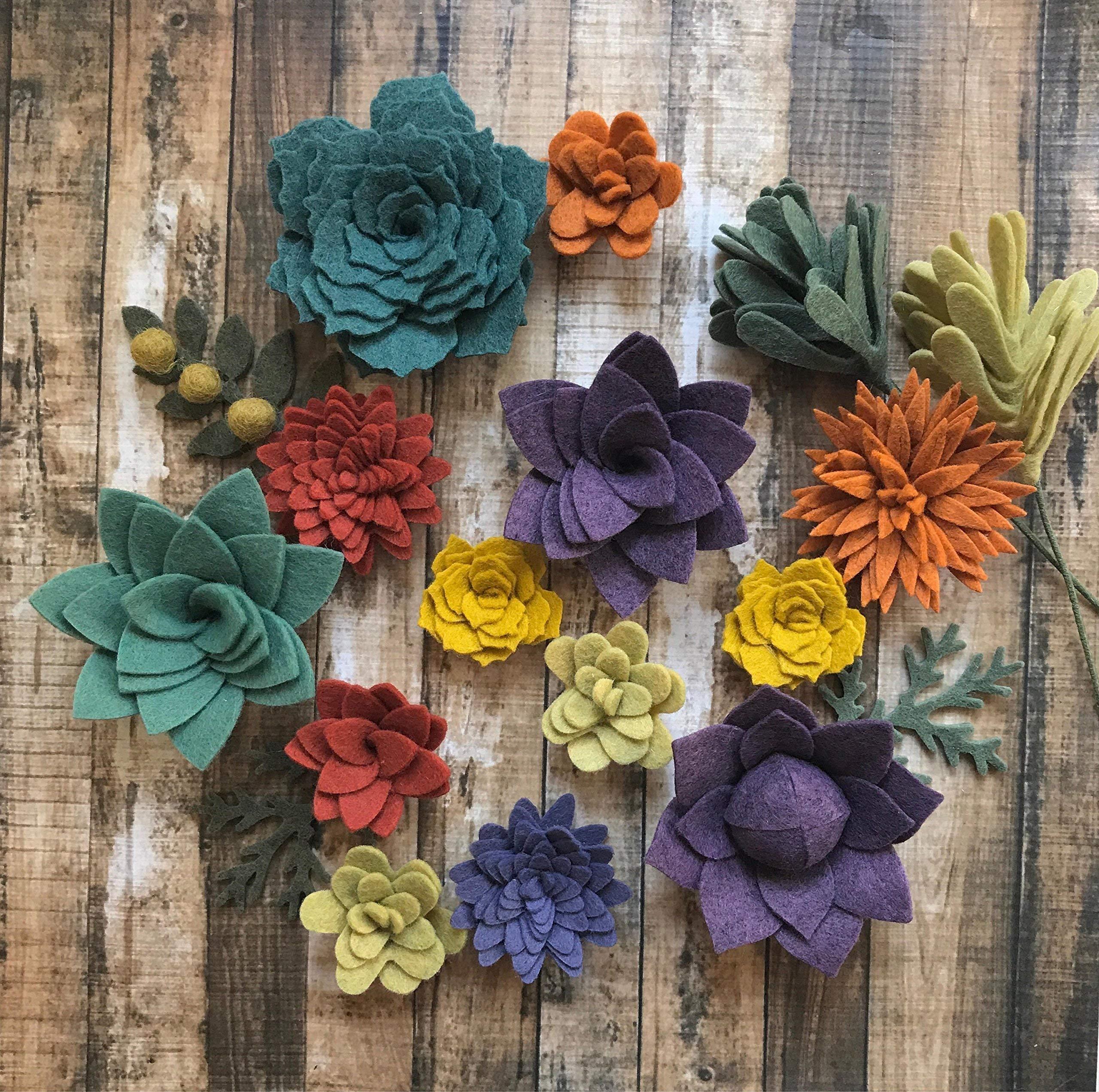 silk flower arrangements wool felt succulents autumn collection- 15 flowers & 3 leaves - create headbands, diy wreaths, garland, vertical garden