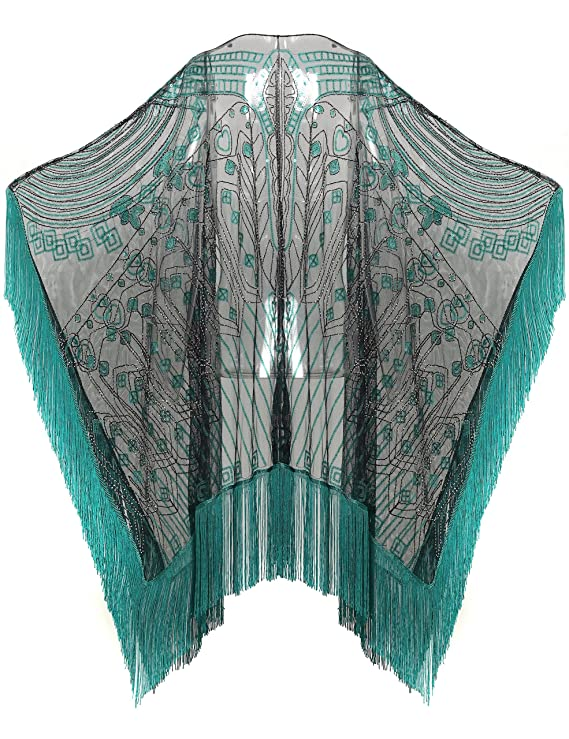 Victorian Clothing, Costumes & 1800s Fashion BABEYOND 1920s Sequin Beaded Shawl Wraps Fringed Evening Cape Scarf for Wedding $29.99 AT vintagedancer.com