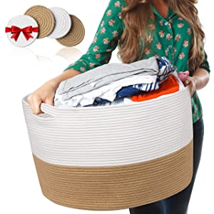 HOMYAM XXL Cotton Rope Basket 22″x14″ | Large Blanket Basket with Strong Invisible Handles | Woven Storage Basket for Clothes, Blankets, Toy basket, Nursery, Extra Large Laundry Basket-White and Beige