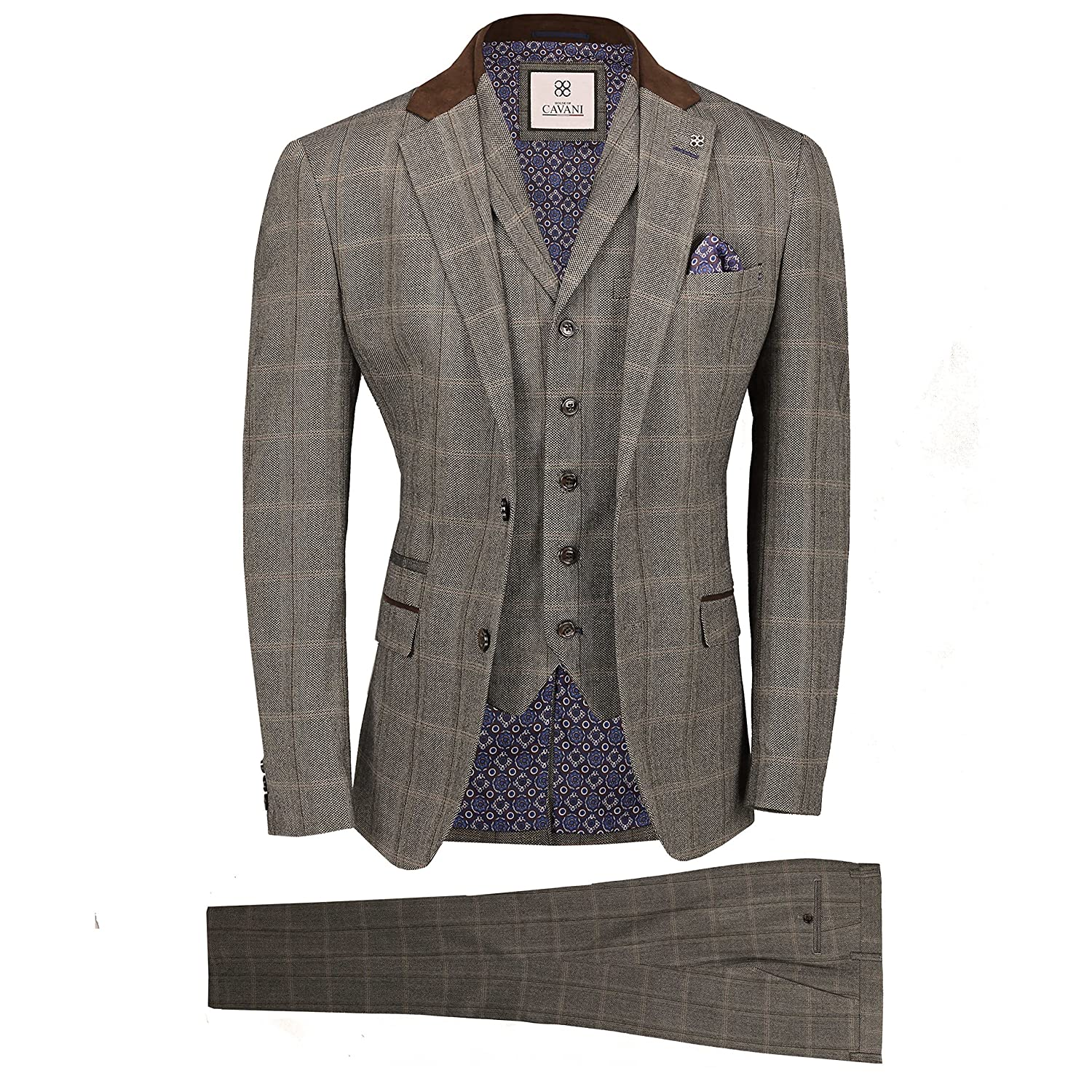 Cavani Mens Tweed Check 3 Piece Suit in Brown Blue Retro Vintage Herringbone Smart Tailored Fit