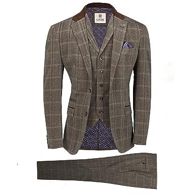 e8d48f3c61 Cavani Mens Tweed Check 3 Piece Suit in Brown Blue Retro Vintage Herringbone  Smart Tailored Fit