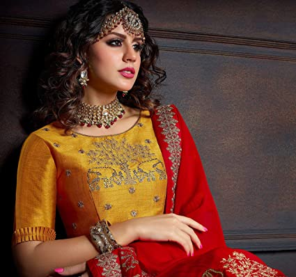 3879991f4842a0 Image Unavailable. Image not available for. Color: Hot Red Nepal Silk Saree  Designer Party wear Stylish ...