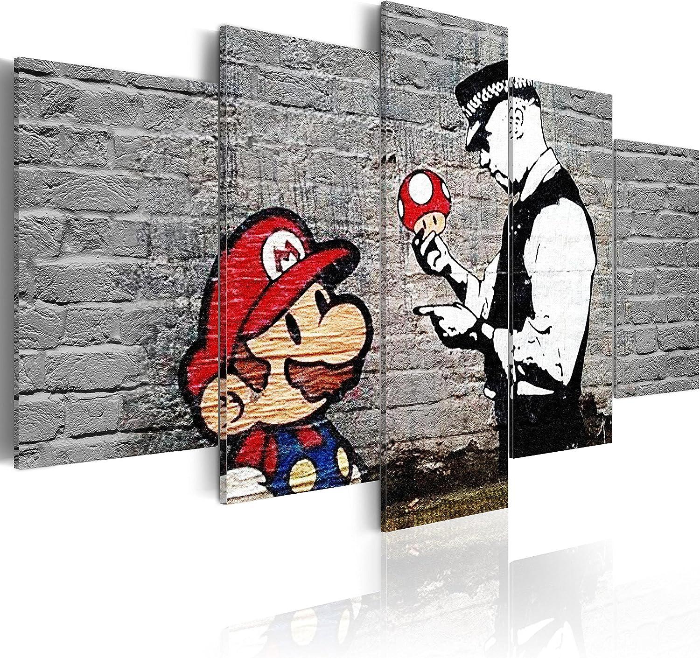 murando - Cuadro en Lienzo 200x100 cm Banksy Impresión de 5 Piezas Material Tejido no Tejido Impresión Artística Imagen Gráfica Decoracion de Pared Abstracto i-B-0040-b-m Collage