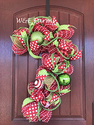 candy cane christmas wreath red green christmas wreath christmas decor ready to ship